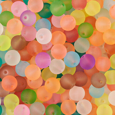 Acrylic Beads ~ ROUND 8-10mm ~ Marbled Transparent FROSTED Mixed Colors