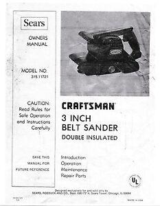 craftsman 3 inch belt sander owners manual reprinted ebay rh ebay com craftsman 3 inch dustless belt sander manual Craftsman 3 Belt Sander Manual