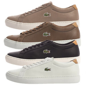 415dfce86ee5 Lacoste Mens Alligator Leather Trainers 417 2 SPM Black Brown Tan ...