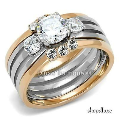 Stunning Round Cut CZ Two Tone 3 Piece Wedding Ring Set Women's Sz 5,6,7,8,9,10