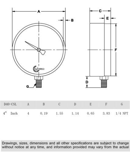 "160 PSI 1//4/""NPT Lower Side Mnt Chrome Plated Steel Case 4/"" Pressure Gauge"