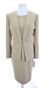 NWT-Preston-amp-York-Beige-Stretch-Suit-Dress-Blazer-Jacket-2pc-Set-Womens-Sz-12