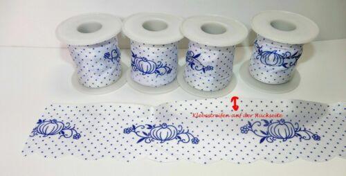 5x Schleifenband 0,31€//m Borte Kante selbstklebend weiß blau Geschäftsauflösung