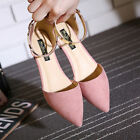 Women's Ankle Strap Casual Shoes Ballet Flats Office Suede Pointed Toe Sandals