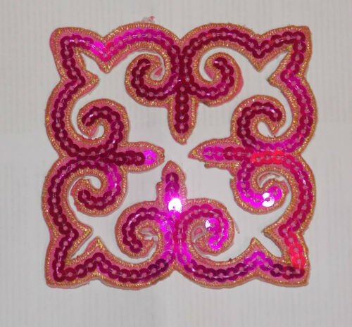 pink sequin embroidery patch lace applique motif dress irish dance costume