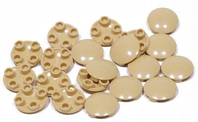 Lego - 20 X Gleitfliese Gleitfuß Rund Sandfarben ( Tan ) 2x2 / 2654 Neuware