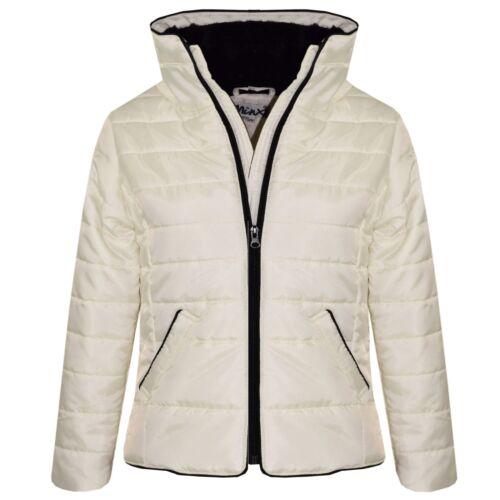 Kids Girls Jacket Cream Padded Puffer Bubble Faux Fur Collar Warm Coats 5-13 Yrs