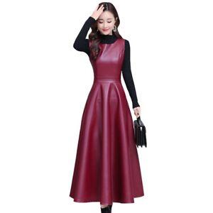New Womens Long Dress New Slim Overknee Faux Leather A Line Vest Dress Elegant L