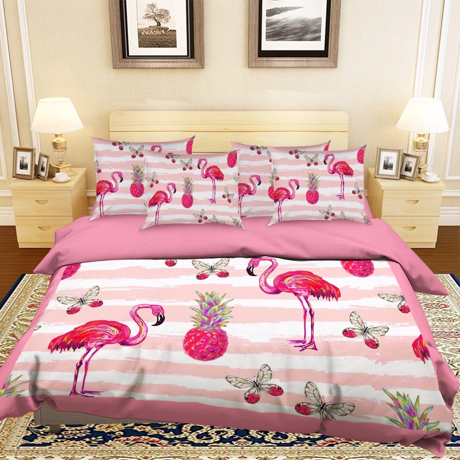 3D Pink Fruit Animals 452 Bed Pillowcases Quilt Duvet Cover Set Single Queen CA