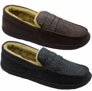 d79bf41958b Image is loading MENS-FAUX-DISTRESSED-LEATHER-MOCCASINS-SLIPPERS-FUR-LINED-