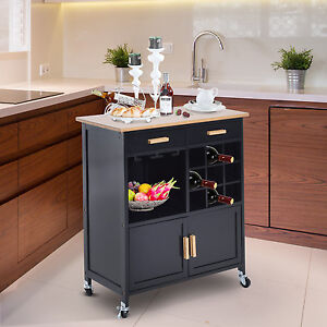 Portable Kitchen Rolling Cart Island Storage Wine Rack Serving Utility Cabinet Ebay