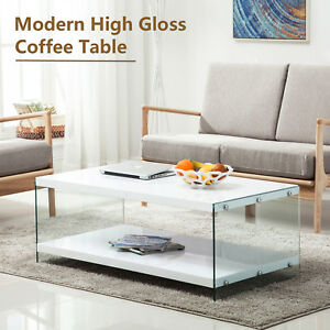 Wonderful Image Is Loading Modern High Gloss White Coffee Table Storage Space