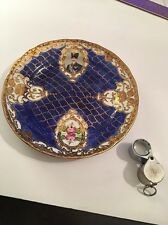 Beautiful 19th Century Hand Painted French Unusual Blue And Gold Porcelain Plate