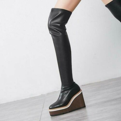 Womens Leather High Wedge Heels Platform Boots Stretch Pull On Shoes KK00