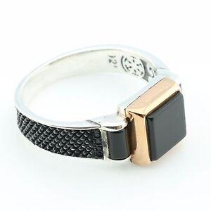 Unique Handmade 925 Sterling Silver Onyx&Zircon Stone  Men's Ring -US Seller-K7H