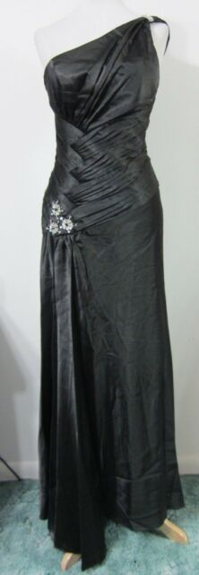 Black S Evening Gown Formal Dress PROM Pageant 1-Shoulder CHICAS Gala Ball NWT