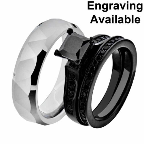 Details about  /His /& Hers Black Stainless Steel Black Wedding Ring Sets Tungsten Men Band IB