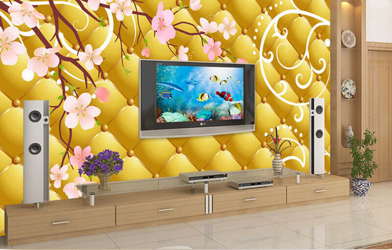 3D golden  Flowers 73 Wall Paper Murals Wall Print Wall Wallpaper Mural AU Lemon