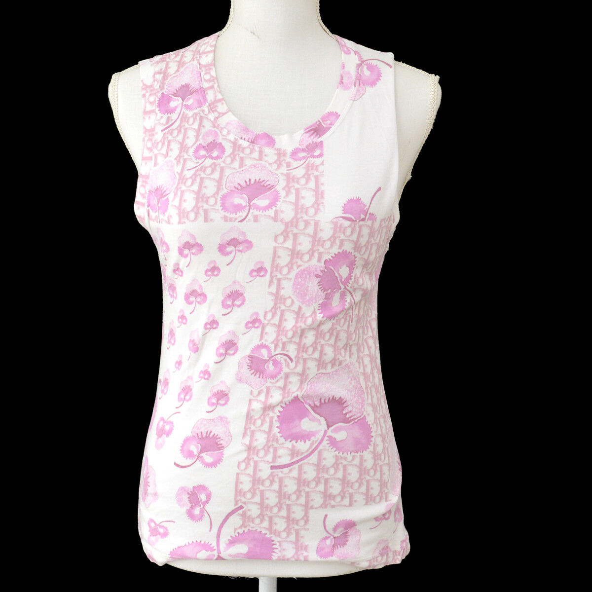 Authentic Christian Dior Vintage Sleeveless Shirt Tops Pink White AK25357