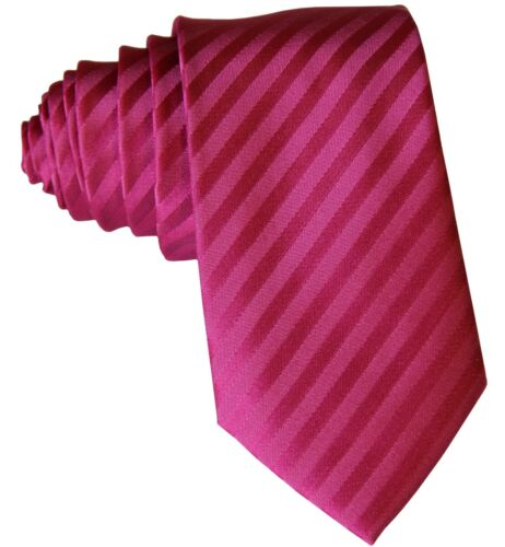 "New Polyester Woven Men/'s 2.5/"" slim necktie Wedding Stripes Hot pink Prom"
