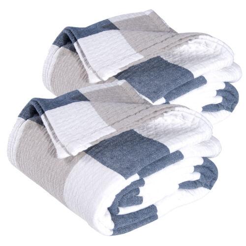 2xTagesdecke Bettüberwurf 100/% Baumwolle Steppdecke Sofaüberwurf Blau 150x200 cm
