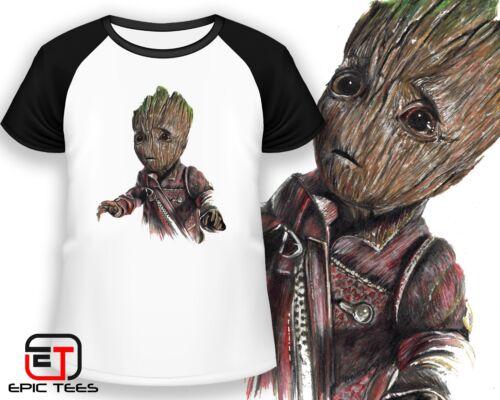 Baby Groot Avengers Hand Drawn Image T-Shirt Kids Mens Women/'s