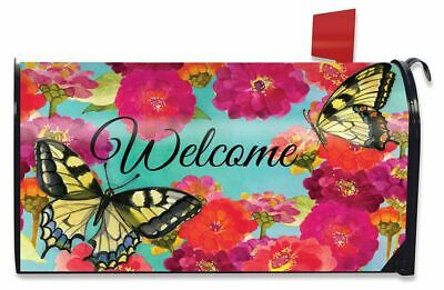 Welcome Cat Spring Magnetic Mailbox Cover Floral Kitty Fence Standard Briarwood