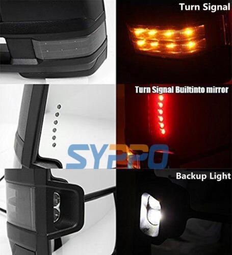 For 99-02 Silverado Sierra Towing POWER HEATED Chrome Mirrors Smoke LED Signal