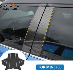For-Mini-Cooper-Countryman-F60-Carbon-Fiber-Window-B-Pillar-Trim-Cover-Stickers