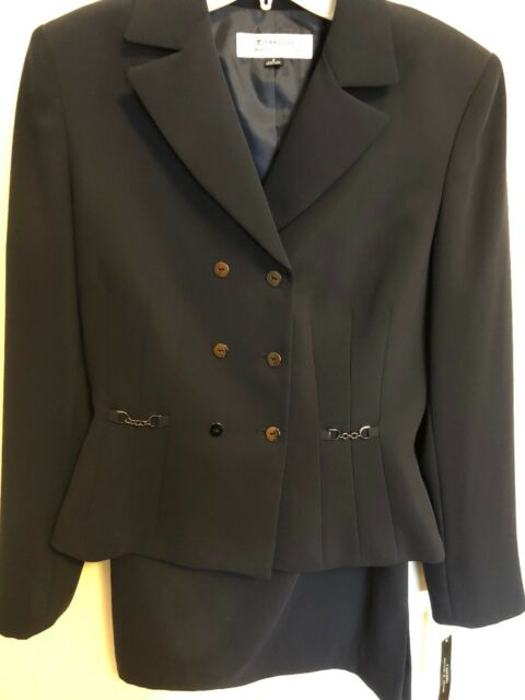65e77d82d9d Tahari Arthur S Levine Navy Double-breasted Skirt Suit Chain-accented Size 6
