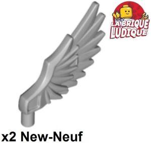 Lego 2x Minifig aile Wing plume oiseau bird Feathered gris//l b gray 11100 NEUF