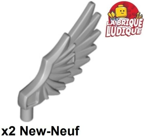 2x Minifig aile Wing plume oiseau bird Feathered gris//l b gray 11100 NEUF Lego