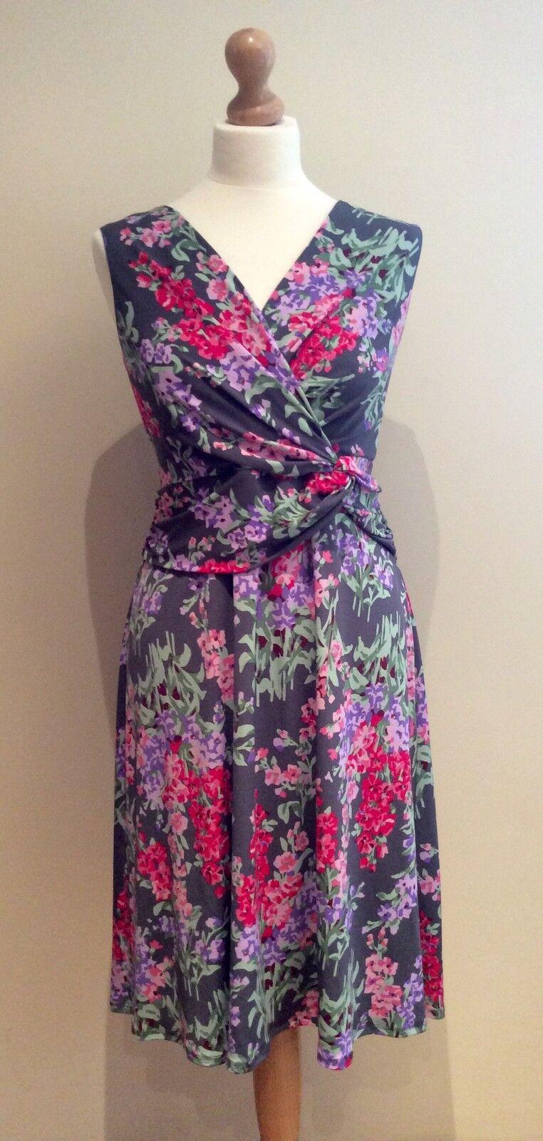 LAURA ASHLEY OCCASION SIZE 14 GREY STRETCH FLORAL DRESS