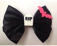 Gothic Bat Hair Bow Goth Halloween Creepy Cute Pink And Black