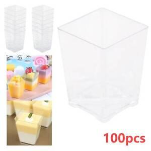 100pcs Plastic Dessert Cups Mini Cubes 4oz/120ml Strong Cup Party Decor