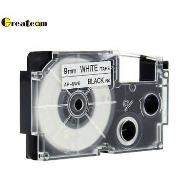 """1PK Compatible Casio XR-9WE Black on White Label Tape for EZ Printer 3//8"""" 9mm"""