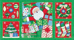 BOGO-Moda-Christmas-Fabric-Panel-034-Ho-Ho-Ho-034-Deb-Strain19700-13-Green