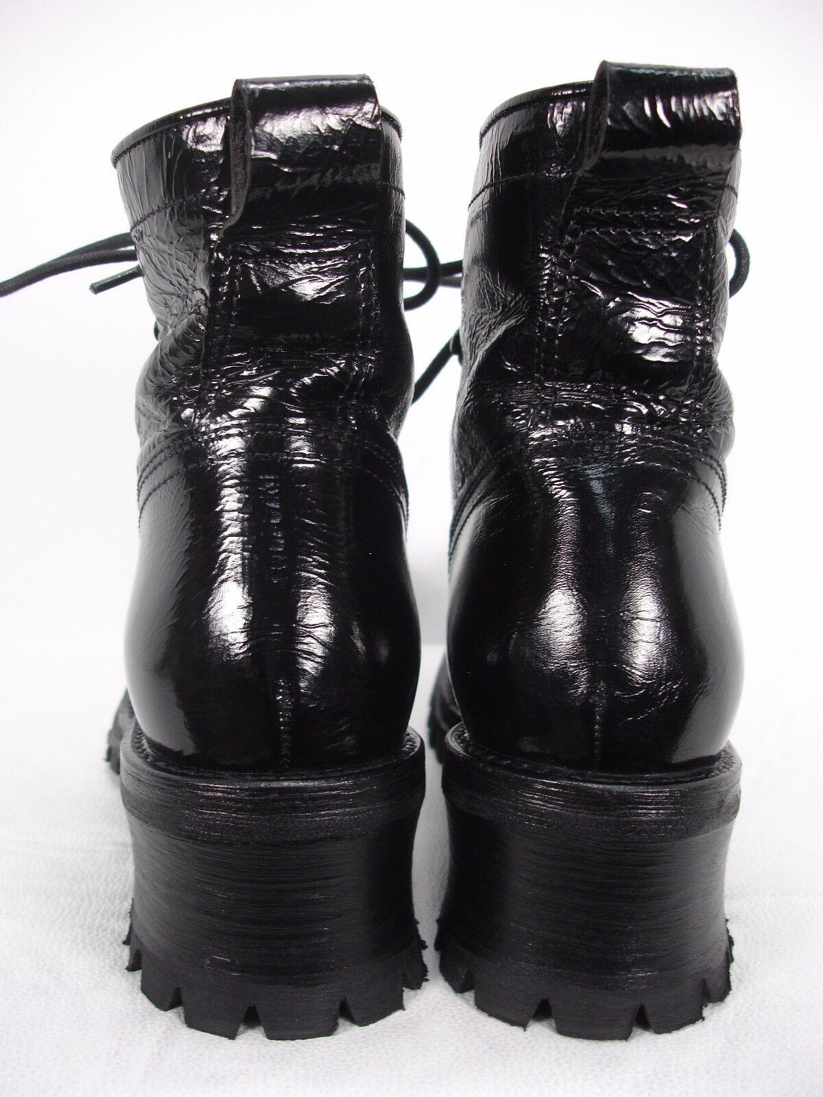 De Botas hecho en Italia Charol Negro Botas De al tobillo con cordones para mujer 37 5c5647