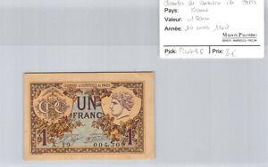 -kammer Handels- De Paris 1 Franc 1920 N° 004309 Pirot 36 Festsetzung Der Preise Nach ProduktqualitäT