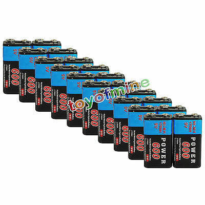 20x Durable 9V 9 Volt 600mAh Power Black Ni-Mh Rechargeable Battery PPS block