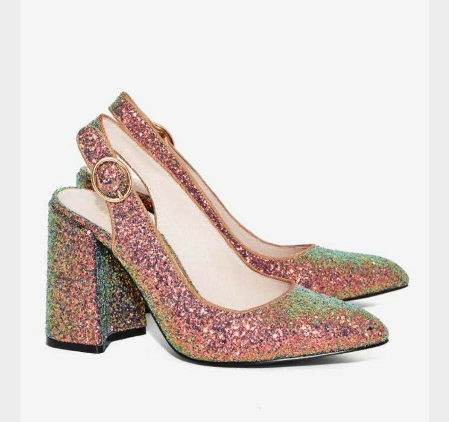 NIB Shellys London Chester Glitter Chunky Heels Peacock gold Retro Party