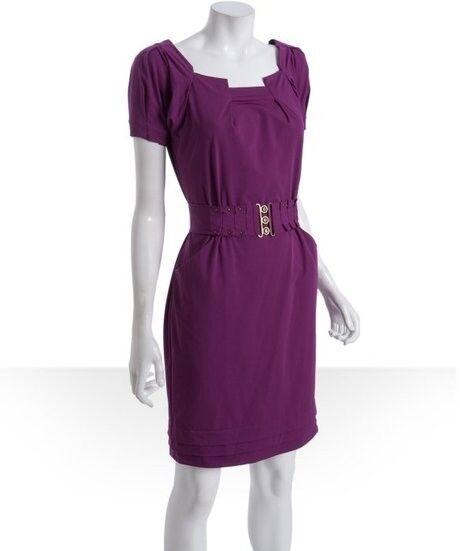 DVF Diane Von Furstenberg BEDA Stretch Poplin Belted Dress Berry 2 US