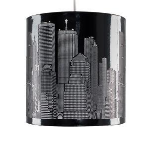 gloss black new york city skyline ceiling pendant light lampshade