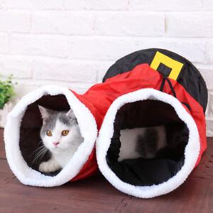 Christmas Santa Pants Pet Cat Play Tunnel Gift 2 Holes Foldable Kitten Fun Toys