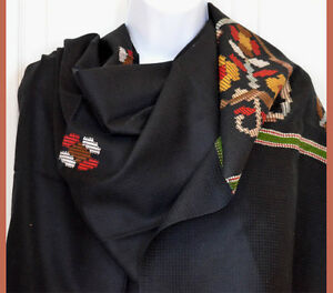 Hand-loomed-Wool-Blend-Shawl-Wrap-Black-Color-from-India