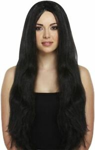 Witch-Wig-Long-Black-Fancy-Dress-Hair-Halloween-Style