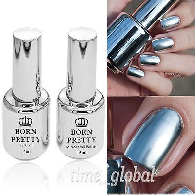 2 Bottles/Set 15ml Mirror Nail Polish & 15ml Top Coat Mirror Effect Nail Varnish
