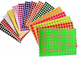 3/8 Inch 10 mm Color Coding Labels Round Stickers Small Dots Sheets 2240 Pack