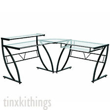 Executive L Shaped Computer Desk Table for Office Gaming Glass Corner Furniture