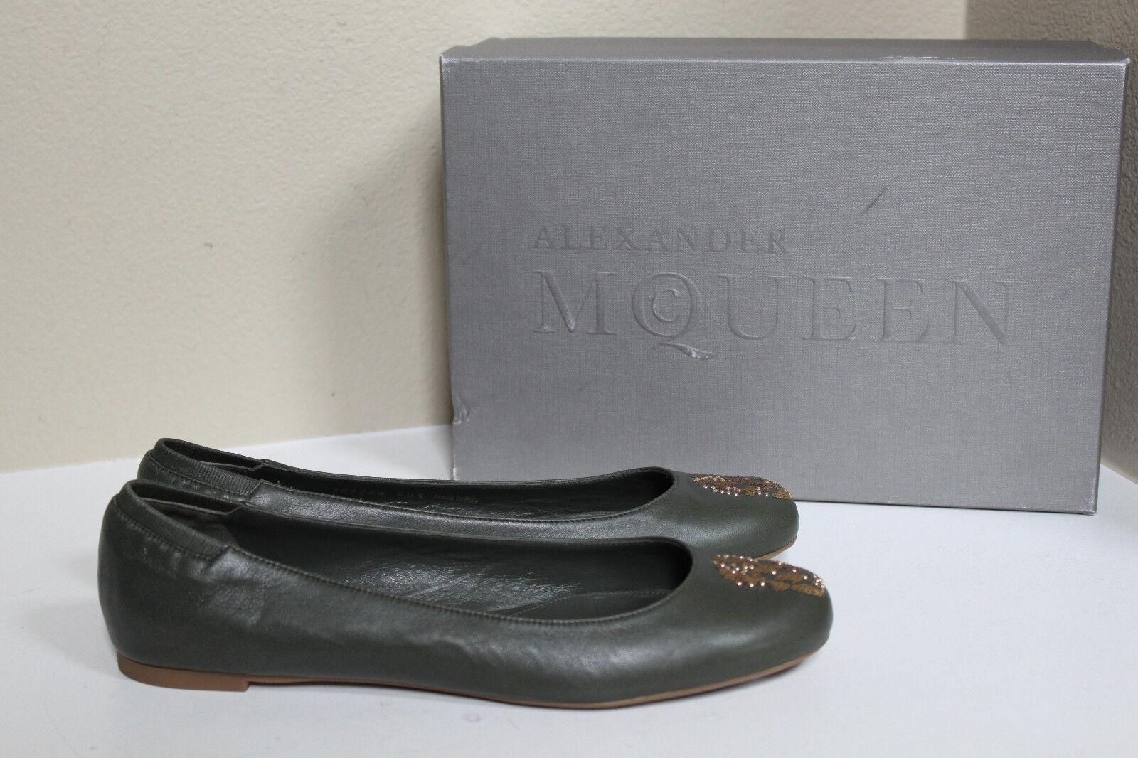 New sz 10 10 10   40.5 Alexander McQueen vert Leather Sequined Skull Ballet flat chaussures 3ba69b